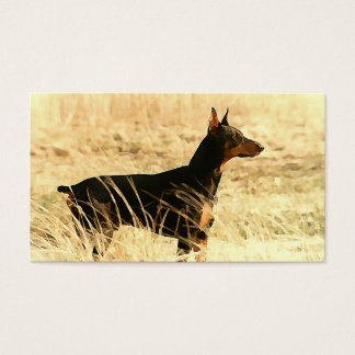 Doberman in Dry Reeds Painting Image Business Card