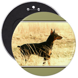 Doberman in Dry Reeds Painting Image 6 Inch Round Button