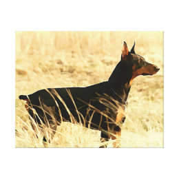 Doberman in Dry Reeds Painting Image Canvas Print