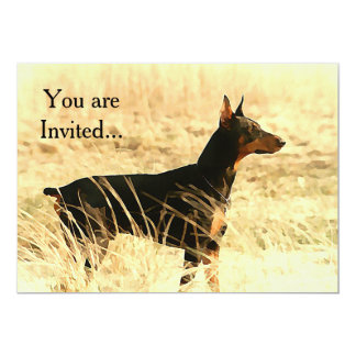 Doberman in Dry Reeds Painting Image Card