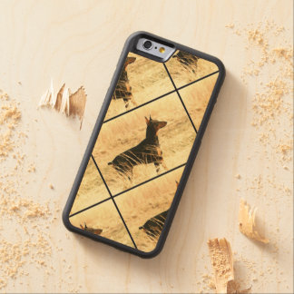 Doberman in Dry Reeds Painting Image Carved Maple iPhone 6 Bumper Case