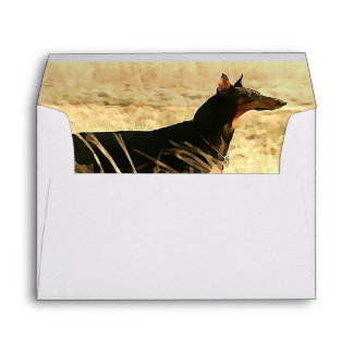 Doberman in Dry Reeds Painting Image Envelope