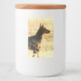 Doberman in Dry Reeds Painting Image Food Label