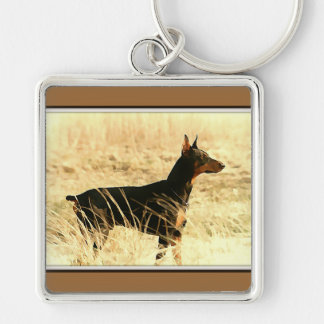 Doberman in Dry Reeds Painting Image Keychain