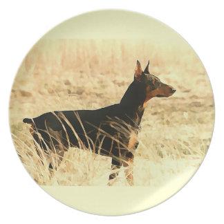Doberman in Dry Reeds Painting Image Melamine Plate