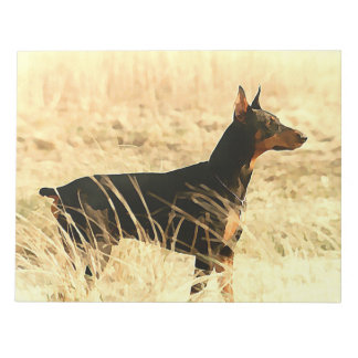 Doberman in Dry Reeds Painting Image Notepad