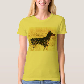 Doberman in Dry Reeds Painting Image T-Shirt