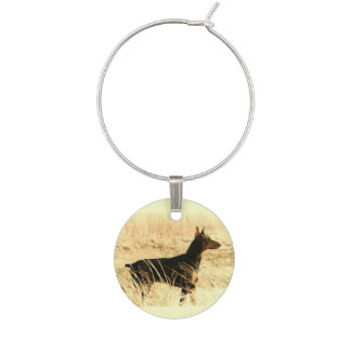 Doberman in Dry Reeds Painting Image Wine Charm