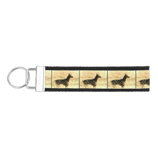 Doberman in Dry Reeds Painting Image Wrist Keychain
