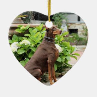 Doberman - In the Church Garden Christmas Ornaments