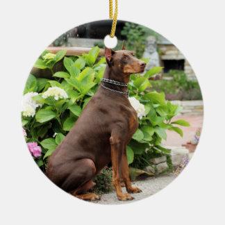 Doberman - In the Church Garden Ornaments