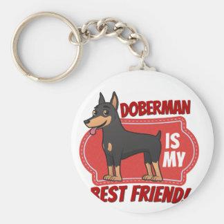Doberman is my best friend basic round button keychain