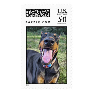 Doberman Love the World Postage