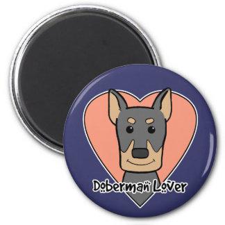Doberman Lover 2 Inch Round Magnet