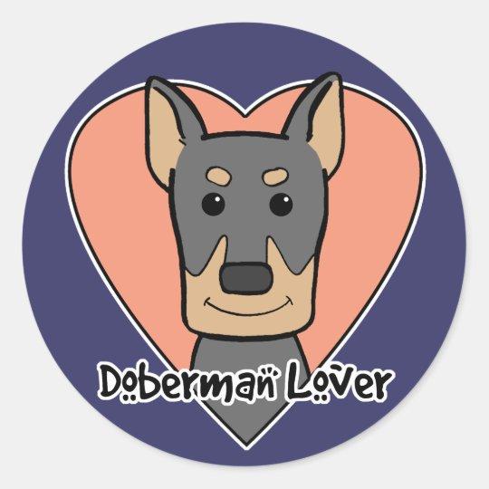 Doberman Lover Classic Round Sticker