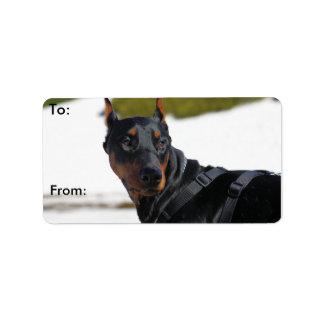 Doberman - negro - carretón etiquetas de dirección