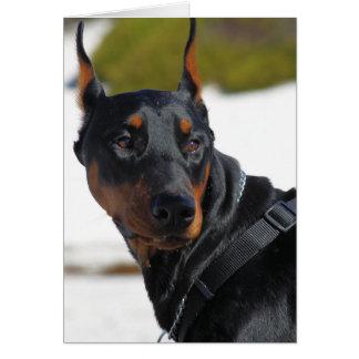 Doberman - negro - carretón tarjeta de felicitación