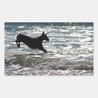 Doberman - negro - salto del océano pegatina rectangular