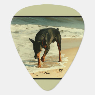 Doberman on the Beach Painting Image Guitar Pick