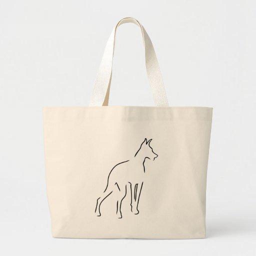 Doberman Outline Jumbo Tote Bag