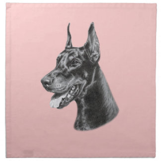 Doberman Pencil Drawing Cloth Napkin