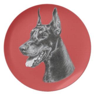 Doberman Pencil Drawing Dinner Plate