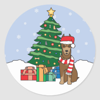 Doberman Pinscher and Christmas Tree Round Sticker