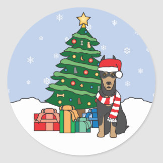 Doberman Pinscher and Christmas Tree Round Stickers