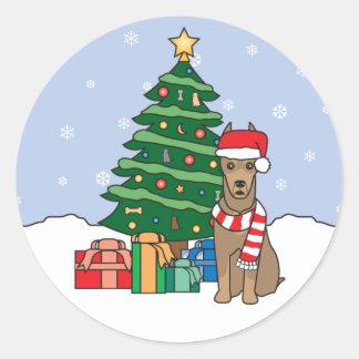 Doberman Pinscher and Christmas Tree Stickers