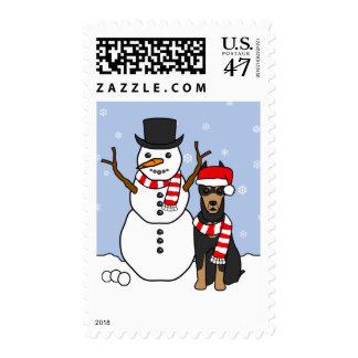 Doberman Pinscher and Snowman Postage