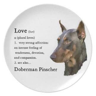 Doberman Pinscher Art Love Is... Dinner Plates