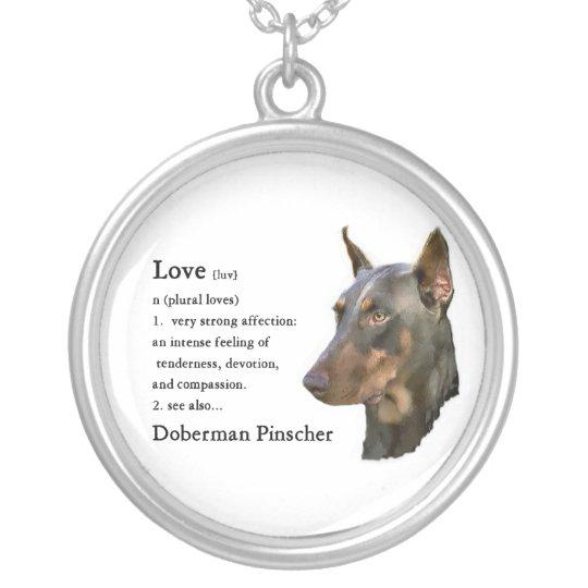 Doberman Pinscher Art Love Is... Silver Plated Necklace