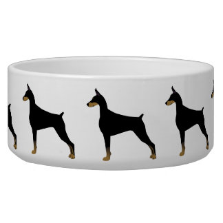 Doberman Pinscher Basic Dog Breed Illustration Bowl