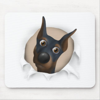Doberman Pinscher (Black and Tan) Busting Out Mouse Mats