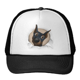 Doberman Pinscher (Black and Tan) Busting Out Trucker Hat
