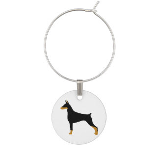 Doberman Pinscher black and tan silo.png Wine Glass Charm