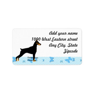 Doberman Pinscher - Black Body Address Label