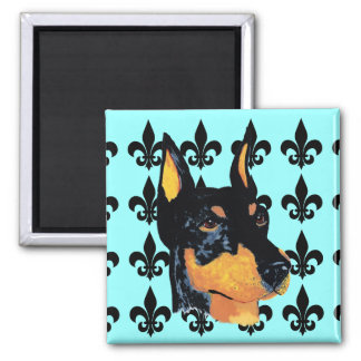 Doberman Pinscher ~ Black Dobie Portrait 2 Inch Square Magnet