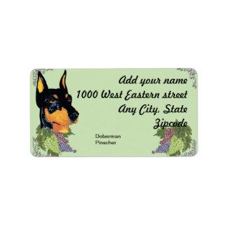 Doberman Pinscher ~ Black Dobie Portrait Address Label