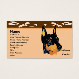 Doberman Pinscher ~ Black Dobie Portrait Business Card