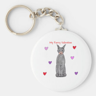Doberman Pinscher Black Furry Valentine Keychain