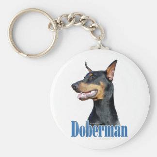 Doberman Pinscher (black) Name Keychain