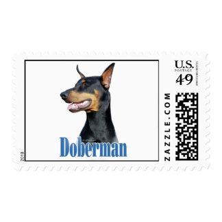 Doberman Pinscher (black) Name Postage Stamp