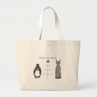 Doberman Pinscher Black Peace On Earth Tote Bags