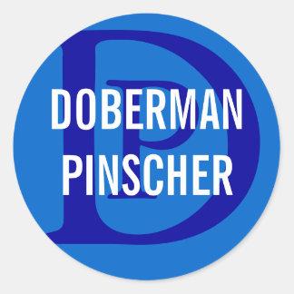 Doberman Pinscher Breed Monogram Design Classic Round Sticker