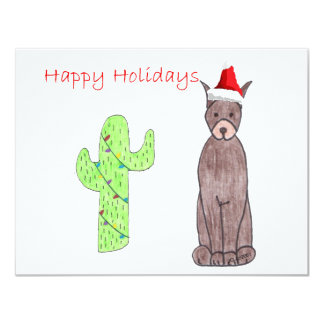 Doberman Pinscher Brown Cactus Christmas 4.25x5.5 Paper Invitation Card