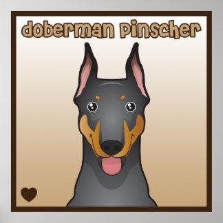 Doberman Pinscher Cartoon Heart Poster