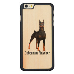 Carved iPhone 6 Plus Slim Wood Case with Doberman Pinscher Phone Cases design
