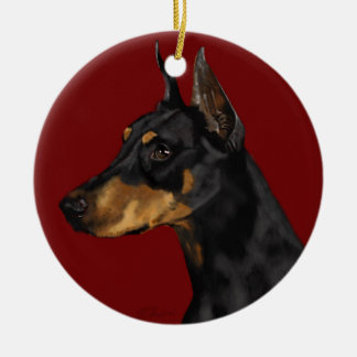 Doberman Pinscher Ceramic Ornament