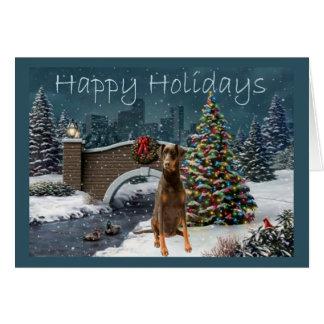 Doberman Pinscher Christmas Card Evening